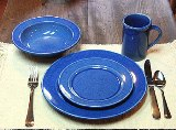 American Blue Dinner Set for 4 Made in USA by Emerson Creek Pottery