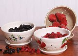 Ceramic Berry Colanders w/Saucer Made in USA