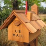 California Cedar Mailbox with Chimney Flag Made in USA