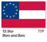 12 Star Stars and Bars Civil War Flag Made in USA