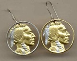 "U.S. nickel ""Indian"" Earrings - American Made"