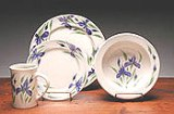 Field of Iris Dinner Set for 4 American Made by Emerson Creek Pottery