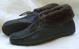 Footskins Mens Sheepskin/Leather Slippers American Made