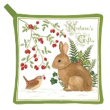 OUT FOR THE SEASON Winter Bunny Potholder - Made in USA - Set of 2