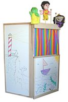Beka Floor Model Theater, marker board surfaces, puppet rack