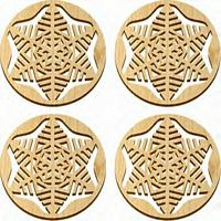 Maple Landmark 4 Pc. Coaster Set - Natural - Snowflake - American Made