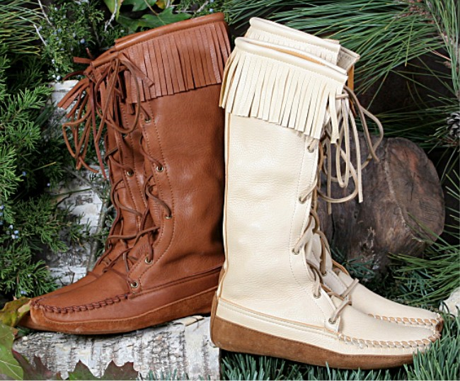 Usab2c Women S Deerskin Fringe Knee High Boots Made In